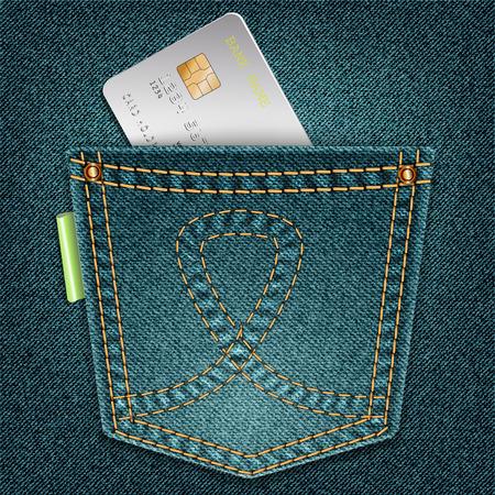 Jeans pocket with credit card jutting on denim background. illustration