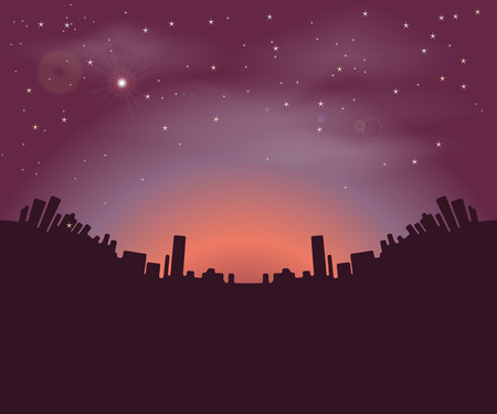city of sunrise: Night city buildings silhouettes on a background of the night sky and the rising sun. illustration Illustration