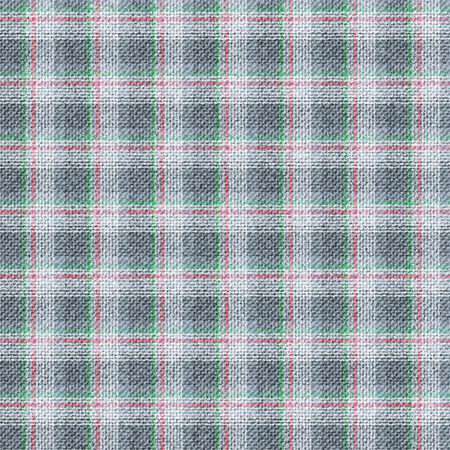 wool texture: Seamless texture of wool fabric in a cage. Grey material with thin strips of red and green. Illustration