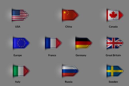 unification: Set of flags in the form of a glossy textured label or bookmark. The unification of Europe and the US China Russia Canada France Germany United Kingdom Italy Sweden.