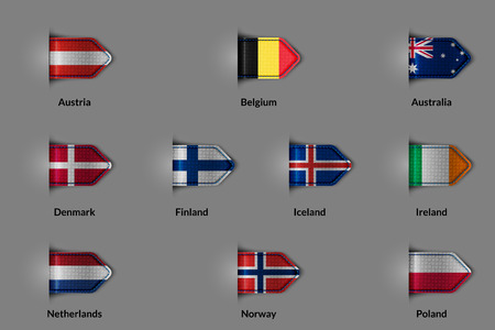 european countries: Set of flags in the form of a glossy textured label or bookmark. European countries Austria Belgium Denmark Finland Iceland Ireland Netherlands Norway Poland and Australia.