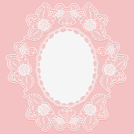 tatting: Lacy flower doily in the shape of the medallion. White lace cloth on a pink background. Vector illustration