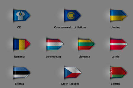 nations: Set of flags in the form of a glossy textured label or bookmark. CIS Commonwealth of Nations Ukraine Romania Luxembourg Lithuania Latvia Estonia Czech Republic Belorus. Vector illustration.