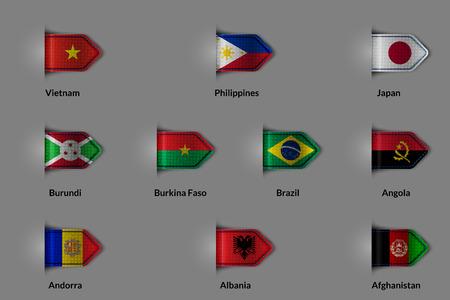 bandera de la india: Conjunto de los indicadores en forma de una etiqueta con textura brillante o marcador. Vietnam Filipinas Japón Burundi Burkina Faso Brasil Angola Andorra Albania Afganistán. Ilustración del vector.