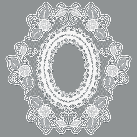 tatting: Lace empty flower frame in the shape of the medallion. White lacy cloth on a gray background. Vector illustration Illustration