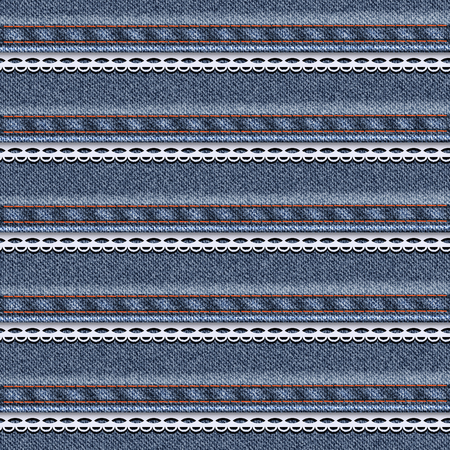 sewn: Realistic denim seamless texture with white lace sewn. Vector illustration.