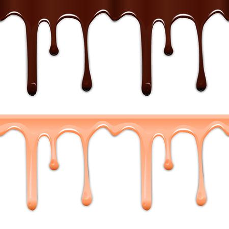 가로 원활한 물방울 유약의 집합입니다. 흰색 배경에 고립 된 초콜렛과 분홍색 얼룩입니다. 벡터 일러스트 레이 션. 일러스트