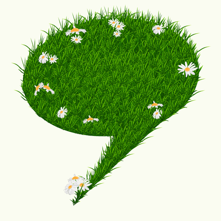 grass texture: Bubble for speech with daisies and grass texture isolated on white background. Oval ecological banner advertising. Vector illustration.