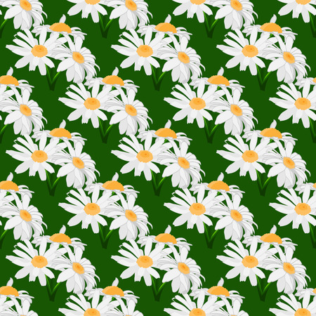 orange gerbera: Seamless pattern with bouquets of daisies. Bouquets of flowers on a green background. Vector illustration. Illustration