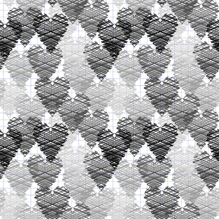 shaded: Seamless pattern of the shaded shaded black and white hearts. Vector illustration Illustration