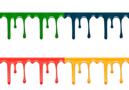 colors paint: Set of seamless drips of paint of different colors, isolated on white background. Vector illustration Illustration
