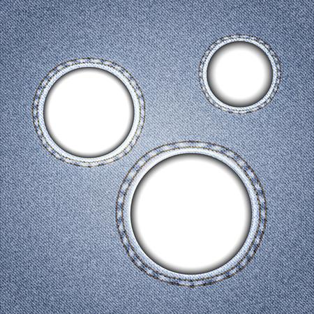 recess: Denim with round holes. Concept background design. Vector illustration