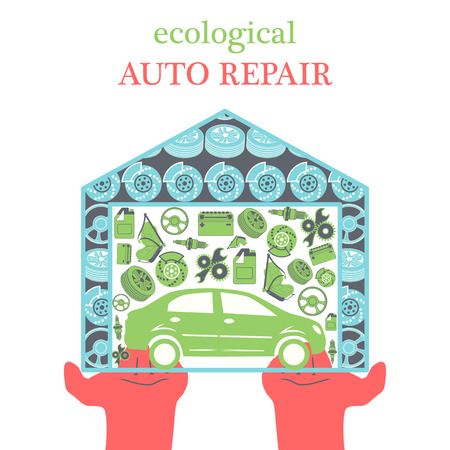 spare: Eco Car Repair Services concept with car icons and spare parts in the garage in the stretched out palms in a trendy flat style.