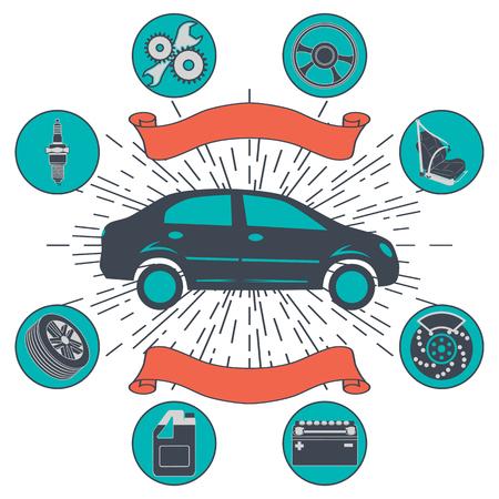 auto service: Auto service background with auto car repair and diagnostics symbols. Vintage retro style info-graphics.