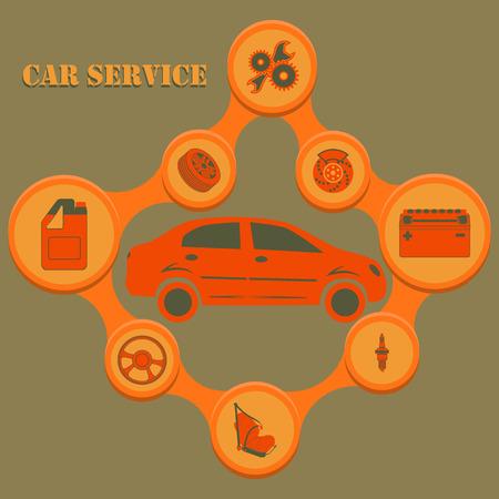 자동차 수리 및 진단 기호가있는 자동 서비스 infographics. 현대 개념입니다.