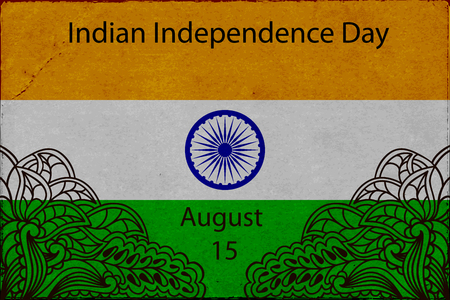 asoka: Template Design advertising poster or flyer for the day of Indias independence. Flag of India with elements mahendi. Vector illustration