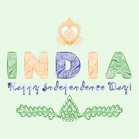 Concept for the day of India independence from the mehndi design elements in tricolor colors. Patterned letters India and the inscription Happy Independence Day. Vector illustration Illustration