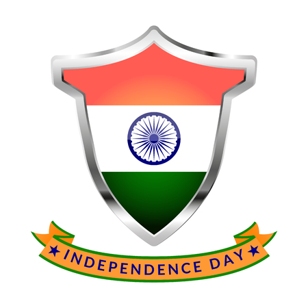 Icon with flag of India and inscription Independence Day isolated on white background. Vector illustration