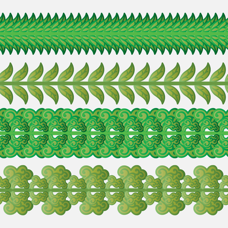 Set of seamless borders with green leaves. Vector illustration