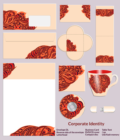 reverse: Stationery template design with zentangle ethnic patterns in henna colors. Set of samples for the companys business. Vector illustration.