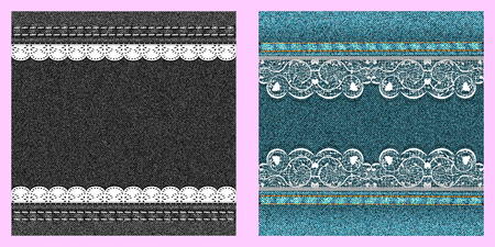 textur: Set of two denim texture with lace. Vector illustration