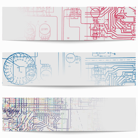 multimeter: Set of horizontal banners with electric circuit diagrams on electricity. Vector illustration Illustration