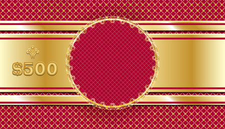Gift Voucher In Gold And Red Template Design Ornate Coupon Or Certificate Sample Invitation Card Or Check Vector Illustration
