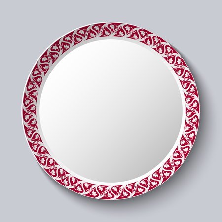 Circular ornament frame applied to a decorative porcelain plate. Vector illustration.