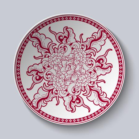 Motif floral rouge et blanc inhabituel appliqué à la plaque en céramique décorative avec une bordure rouge. Le plat est isolé sur fond blanc. Illustration vectorielle