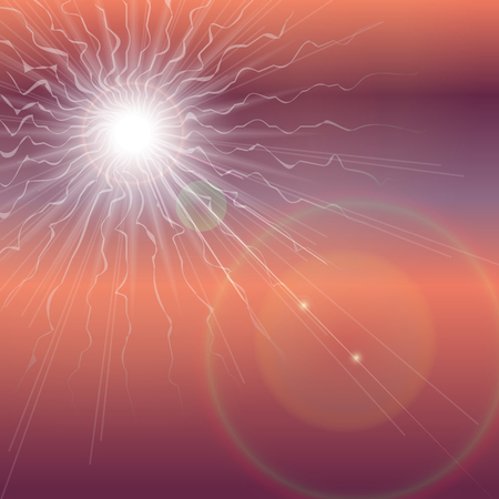 Explosion of the sun in the dark sky. Apocalypse Revelation background. Vector illustration Illustration