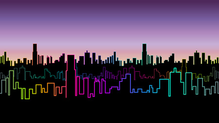versicolor: Seamless header of the city at night with versicolor neon color. Vivid glow of the contours of skyscrapers. Vector illustration.