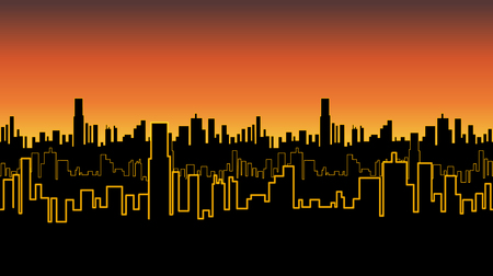 Seamless band of the city at sunrise or sunset with yellow neon color. Vivid glow of the contours of tall buildings. Vector illustration.