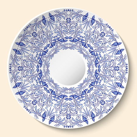 Round blue floral ornament. Styling based on Chinese or Russian porcelain painting. Pattern is applied to ceramic decorative plate. Vector illustration Illustration