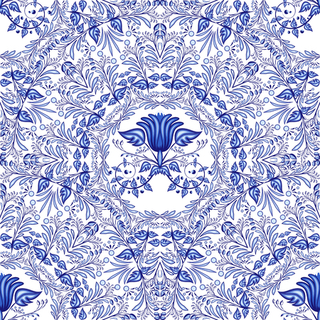 Seamless blue pattern. Repeating floral pattern of circular ornaments. Background of flowers in the style of Chinese or Russian painting on porcelain. Vector illustration.