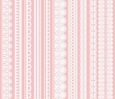 Ten white lace ribbons isolated on pink background.