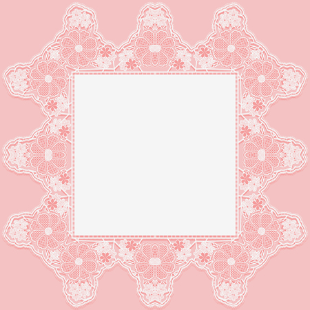Vintage lace doily with knotted flowers on pink background.