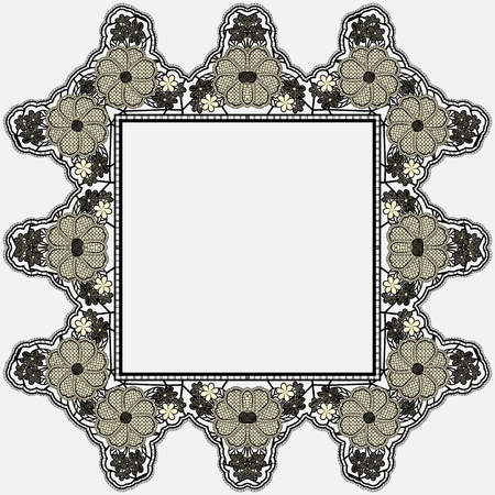 Vintage lace frame with crocheted flowers isolated on white background. Vector illustration