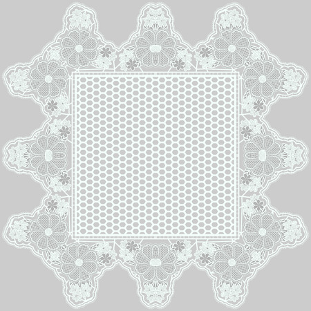 Mesh lace napkin with tracery flowers on a gray background. Vector illustration Illustration
