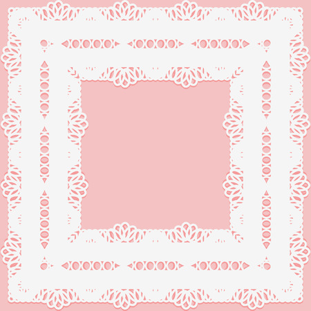 snug: Openwork lace frame on a pink background.
