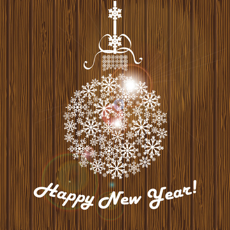 Christmas ball from white snowflakes with the words Happy New Year on the background of wooden planks. Vector illustration Illustration