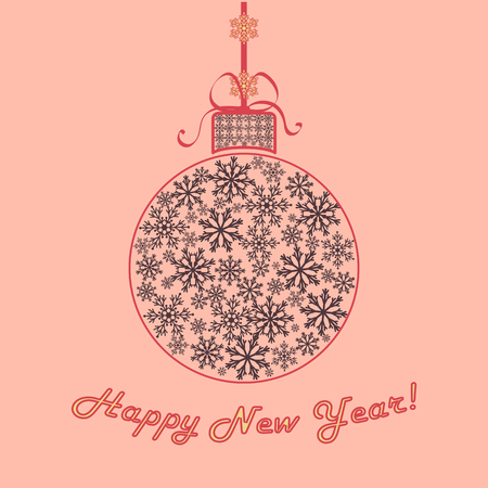 Happy new year background. Christmas ball of snowflakes. Vintage delicate colors. Vector illustration
