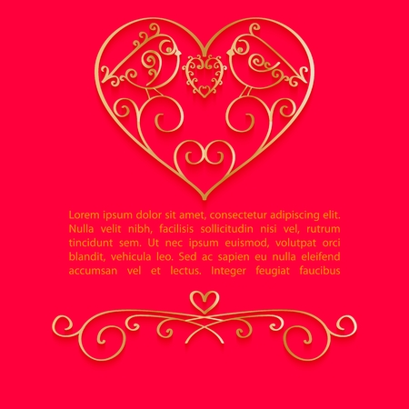 Valentine Day bright background with gold jewelry heart and place for text. Vector illustration