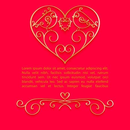 Valentine Day heldere achtergrond met gouden sieraden hart en plaats voor tekst. Vector illustratie Stock Illustratie