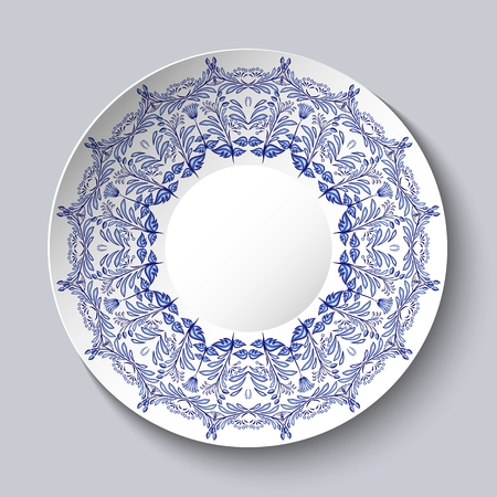Souvenir porcelain plate with a blue floral pattern. Vector illustration