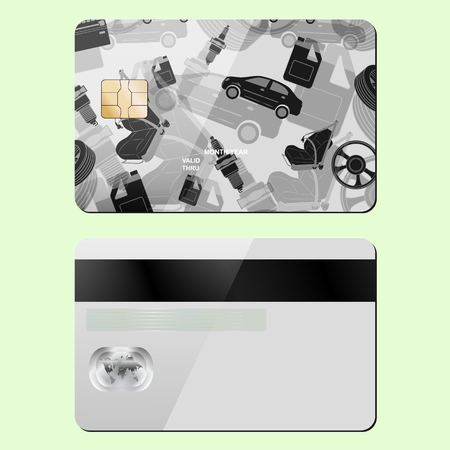 Bank card repair topics. Sample design template isolated on a light background. Front and back side. Vector illustration