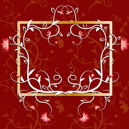 Frame overgrown with flowers and vines. Richly decorated with congratulatory background. Vector illustration Illustration