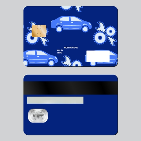 paying: Bank card auto repair subjects. Sample design template isolated on grey background. Front and back side. Vector illustration