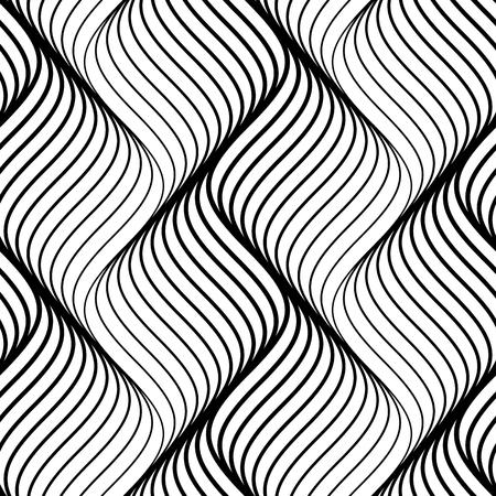 Abstrait modèle sans couture de lignes ondulées noires sur fond blanc. Illustration vectorielle