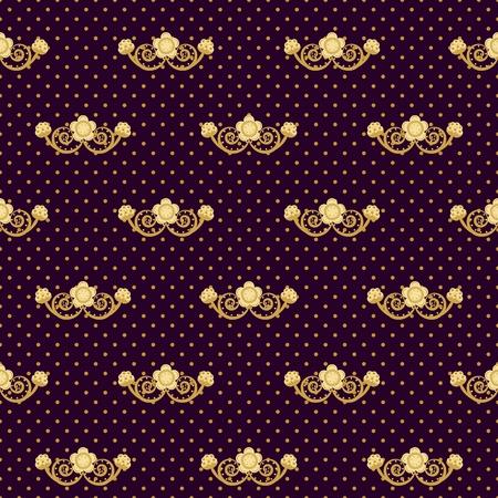 Ornate seamless pattern. Golden flowers and polka dots on purple background. Vector illustration. Illustration