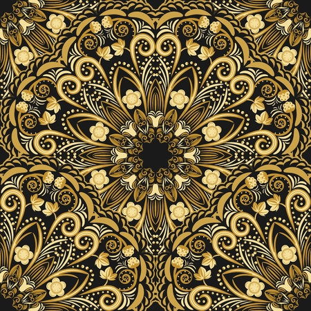 Ornate seamless pattern of golden mandala on black background. Vector illustration. Иллюстрация